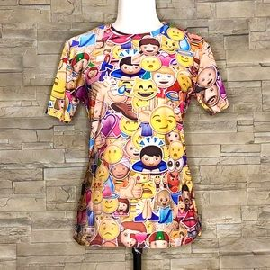 Multicolour digital print emoji t-shirt